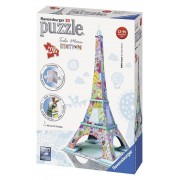 Puzzle 3D - Turnul Eiffel colorat, 216 piese