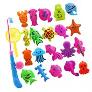 Phenovo 22Pcs Babies Bath Time Magnetic Fishing Toy Cute Fish Model Set Kids Fish Water Toy Activity Funny