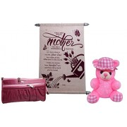 mothers day gifts combo - Mother Scroll Greeting Card, Women Wallet and Soft Cute Teddy