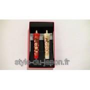 Paire de bougies japonaises peintes à la main (cerisier)