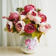 Artificial Dark Pink Peony Silk Flower Leaf Bouquet Wedding Home Decoration