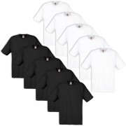 10 Fruit of the Loom Original T-shirt 100% Cotton White / Black S