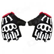 Spakct ciclo al aire libre equitacion medios guantes del dedo w / Protector Pad - Negro + blanco + rojo (par L)