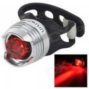 UltraFire 10lm LED 2-Mode Red Light Bicycle Security Tail Light - Black + White (2 x CR2032)