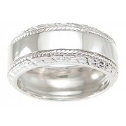 Sterling Silver Mens Cubic Zirconia Wedding Rings Size 8 9 10 11