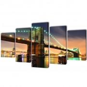 vidaXL Sada obrazov na stenu, motív Brooklynský most 200 x 100 cm