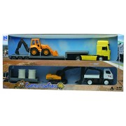 NEWRAY 33065 - Construction Machine Scala 1:43, Man F2000 Lowboy con Mezzi da Lavoro: Scala 1:48, Backhoe Loader Scala 1:58, Excavator Scala 1:43, Truck Mounted Crane con Rimorchio