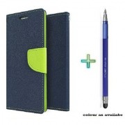 Mercury Wallet Flip case cover for Nokia Lumia 520 (BLUE) With Stylus Touch Pen(Assorted Color)