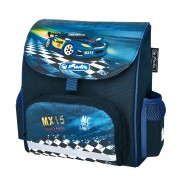Ghiozdan ergonomic neechipat, dimensiune 26x24x14cm, motiv Mini Softbag Super Racer
