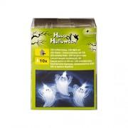 Heitmann Deco 7025 House of Halloween - Catena di luci a LED a forma di fantasma, catarifrangenti, ca. 120 cm, bianco