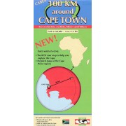 Fietskaart - Wegenkaart - landkaart 100 km around Cape Town – Kaapstad   Tracks4Africa