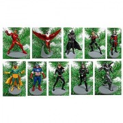 AVENGERS 10 Piece Christmas Tree Ornament Set Featuring Captain America Iron Man Winter Soldier Black Widow War Machine Falcon Black Panther Hawkeye Vision and Ant-Man