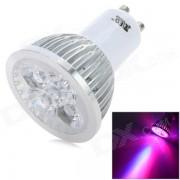 GU10 4W 200lm Flore, Bleu, Rouge 1-LED lampe de croissance 3-LED Spotlight - blanc + argent (AC 100 ~ 240V)