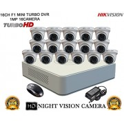 HIKVISION 16CH DS-7116HGHI-F1 MINI Turbo HD 720P DVR + HIKVISION DS-2CE56C2T-IRP TURBO DOME CAMERA 16pcs COMBO