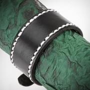 Bratara Piele Neagra cu Margine Cusuta Alb BFL-981
