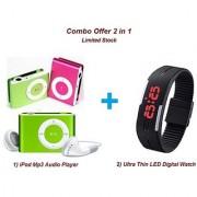 Combo of Ultra Thin Digital LED Fashion Watch iPod Style Mini MP3 Music Player