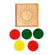 ELECTROPRIME Wooden Board Pie Puzzle Fraction Count Tools Kids Arithmetic Educational Toy