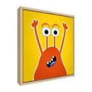Feel Good Art eco-printed e incorniciato Nursery Tela con telaio in legno massiccio naturale (30 x 30 x 3 cm, piccolo, giallo, Frank il Friendly Monster)