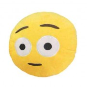 Soft Smiley Emoticon Yellow Round Cushion Pillow Stuffed Plush Toy Doll (Bewildered)