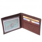 Florence Leather Market Mini portafoglio super sottile in pelle morbida con porta-documento trasparente (PF113)