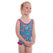 Zoggs - Costume intero da bambina scollato sulla schiena, motivo a fiori, ragazza, Fun Flower Scoop Back, Turquoise/Multi-Colour, 50,80 cm/1 - 2 anni
