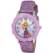 Disney Kids' W001601 Rapunzel Stainless Steel and Purple Glitter Leather Strap Watch