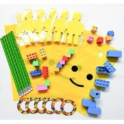 Pre-Assembled 54 Piece Building Blocks (Bricks) Theme Favors with Mini Figure Cutout Sticky Notepad Pencil Erasers Sharpener Sticker and Bag 6 Pack