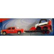 Maisto Adventure Wheels Trucks & Trailers : Fire Rescue Red Ford Pickup With Loader Tractor & Trailer