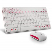 Rapoo 8000 Wireless Keyboard & Mouse Set 2.4G Compacto Para La Computadora Smart TV Android-Blanco