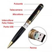 Penna spia LKM Security® in HD con telecamera nascosta alta qualità memoria integrata 8GB risoluzione 1280 x 1024