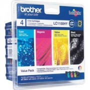 Brother LC-1100HY BK/C/M/Y VALUE BP Ink Cartridge High Yield Set - LC1100HYVALBP
