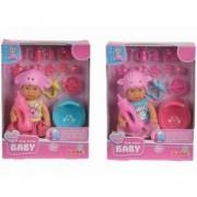 Кукла пишкащо бебе Mini New Born Baby - 2 налоични модела - Simba, 043099