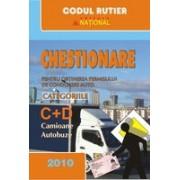 Chestionare pentru obţinerea permisului de conducere auto categoriile C+D.