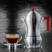Alessi Espressokocher Pulcina für 6 Tassen, 300 ml, Aluminium/rot, 12 cm Durchmesser, 26 cm H