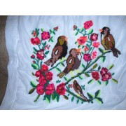 Vintage Romanian traditional pillow case, hand embroidered pillow from Oltenia / bird