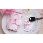Lovely Baby Girl Dress Ball Key Chain Key Ring for Baby Shower Gift Pink