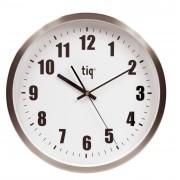 Ceas rotund de perete, D-380mm, cifre arabe, TIQ - rama aluminiu - dial alb