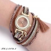 rosegal FULAIDA Women Quartz Watch Leather Band Tassel Decoration Rhinestone Wristwatch