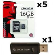 5 PACK - Kingston 16GB MicroSD HC Class 4 TF MicroSDHC TransFlash Memory Card