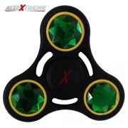 AllExtreme Black Metal Fidget Spinner with Crystal, 3 Minute Spin Time Crystal Fidget Spinner Toy for Kids, Children, Adult - Smooth Bearing for Fast Spinning - Ideal for Stress Relief, ADHD, Anxiety, Autism Sensory (Green)
