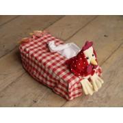 Funda Caja de Kleenex - Modelo GALLINA CUADROS - Rojo