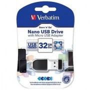 Verbatim 49822 Store and Go Nano 32GB USB Drive With Micro Adapter - Black