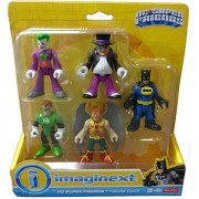 Fisher Price Imaginext DC Super Friends 5 Figure Pack - Joker, Penguin, Batman, Hawk Man, Green Lantern by Imaginext