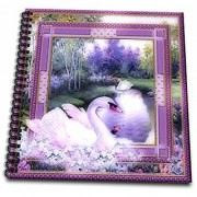 3dRose db_128834_1 Beautiful White Swan by The Lake and Purple Decorated Pattern Frame a Nature Beauty Drawing Book 8 by 8-Inch