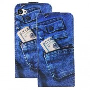 Heartly Designed Premium Luxury Pu Leather Flip Bumper Case Cover For Apple iPhone 4 4S 4G - JeansBlue