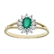 Citerna 9 ct Yellow and White Gold Stone Set Cluster Ring - Size H