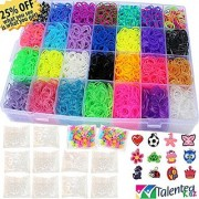 9100pc Authentic Rainbow MEGA Refill Loom Bands Case by Talented Kidz: 8500 Premium Quality Bands in 28 Colors 500 Clip