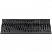 Tastatura A4Tech KR-85, cu fir, US layout, neagra, Rounded key-caps, Laser inscribed keys, PS/2