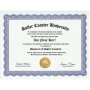 Roller Coaster Fan Coasters Degree: Custom Gag Diploma Doctorate Certificate (Funny Customized Joke Gift - Novelty Item)