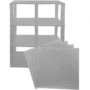 Premium Clear Stackable Base Plates - 4 Pack 10 X 10 Baseplate Bundle With 60 Clear Bonus Building Bricks (Lego Compat
